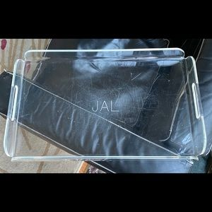 RARE LARGE 1970s CLEAR LUCITE SERVING TRAY MODERN